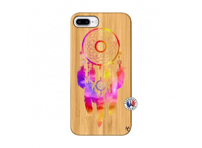 Coque iPhone 7Plus/8Plus Dreamcatcher Rainbow Feathers Bois Bamboo
