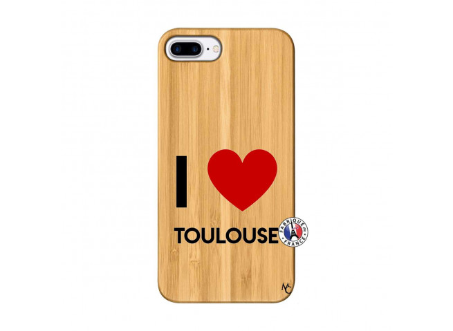 Coque iPhone 7Plus/8Plus I Love Toulouse Bois Bamboo