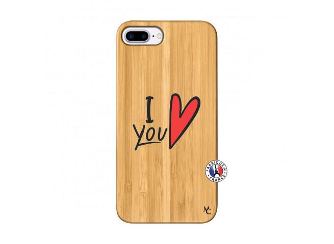 Coque iPhone 7Plus/8Plus I Love You Bois Bamboo