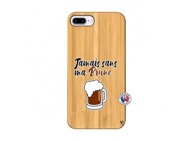 Coque iPhone 7Plus/8Plus Jamais Sans Ma Brune Bois Bamboo