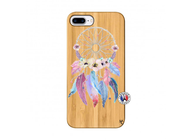 Coque iPhone 7Plus/8Plus Multicolor Watercolor Floral Dreamcatcher Bois Bamboo