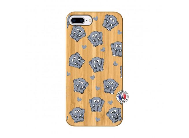Coque iPhone 7Plus/8Plus Petits Elephants Bois Bamboo