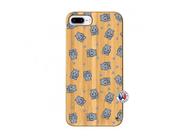 Coque iPhone 7Plus/8Plus Petits Hippos Bois Bamboo