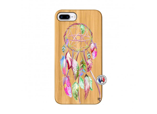 Coque iPhone 7Plus/8Plus Pink Painted Dreamcatcher Bois Bamboo
