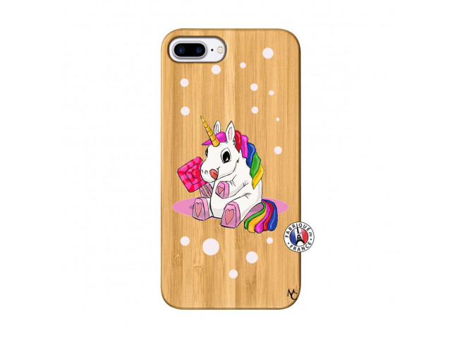 Coque iPhone 7Plus/8Plus Sweet Baby Licorne Bois Bamboo