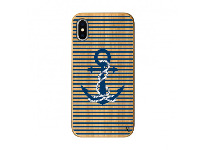 Coque iPhone X/XS Ancre Bois Bamboo