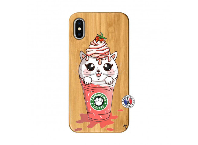 Coque Bois iPhone X/XS Catpucino Ice Cream Smoothie