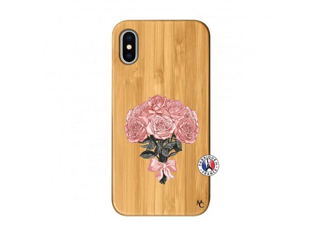 Coque iPhone X/XS Bouquet de Roses Bois Bamboo