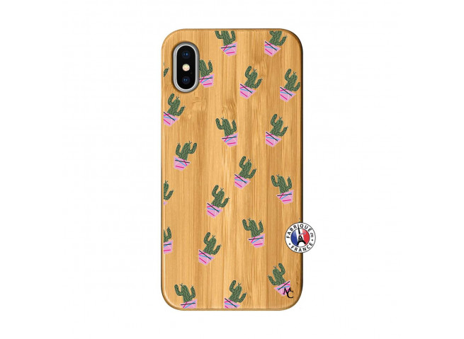 Coque iPhone X/XS Cactus Pattern Bois Bamboo