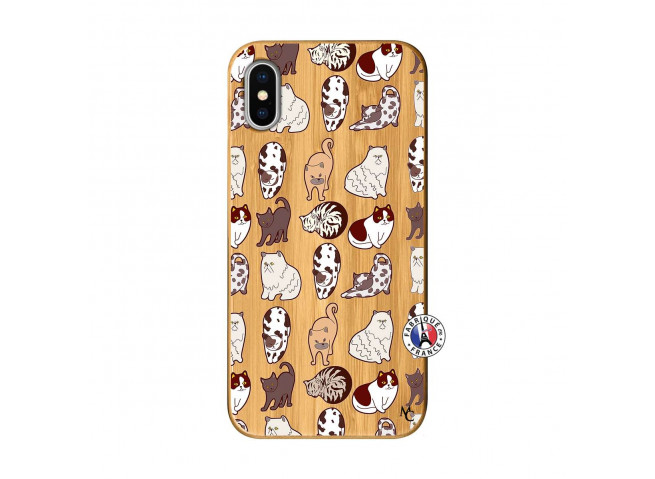Coque iPhone X/XS Cat Pattern Bois Bamboo