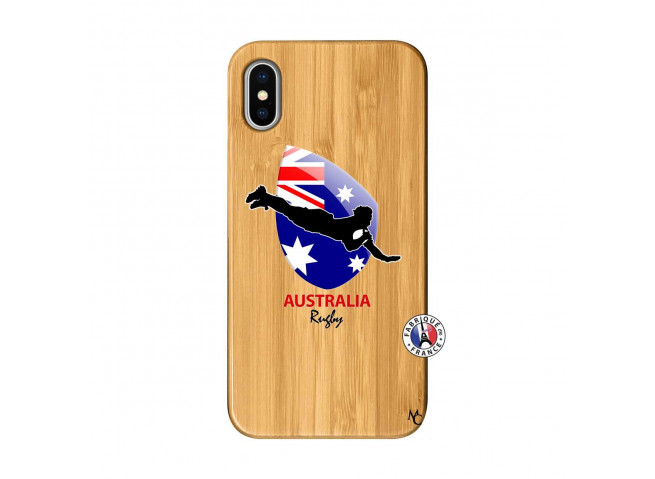 Coque iPhone X/XS Coupe du Monde Rugby-Australia Bois Bamboo