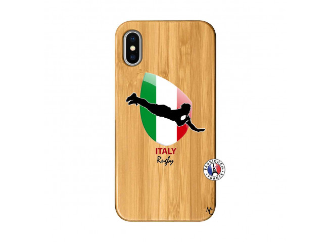 Coque iPhone X/XS Coupe du Monde Rugby-Italy Bois Bamboo