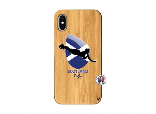 Coque iPhone X/XS Coupe du Monde Rugby-Scotland Bois Bamboo