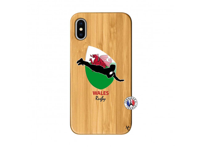 Coque iPhone X/XS Coupe du Monde Rugby-Walles Bois Bamboo