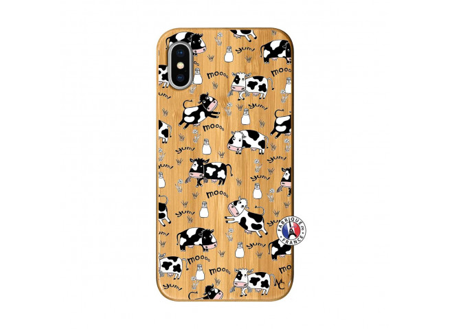 Coque iPhone X/XS Cow Pattern Bois Bamboo