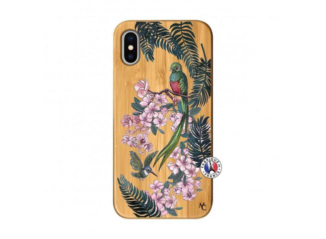 Coque iPhone X/XS Flower Birds Bois Bamboo