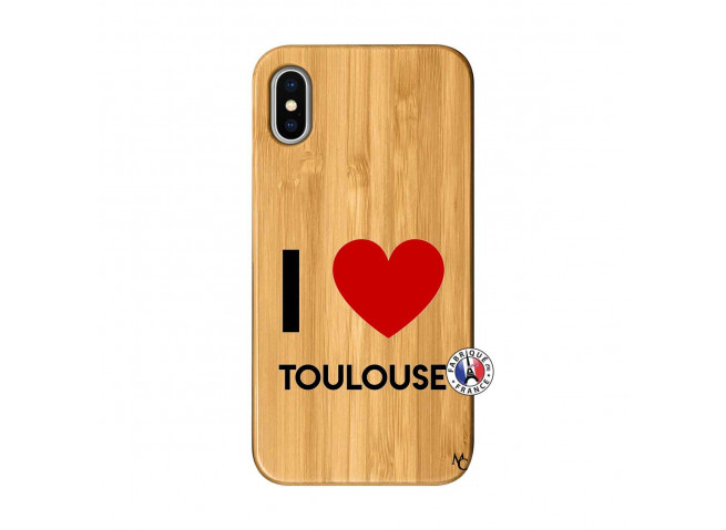 Coque iPhone X/XS I Love Toulouse Bois Bamboo