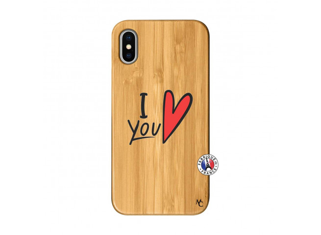 Coque iPhone X/XS I Love You Bois Bamboo