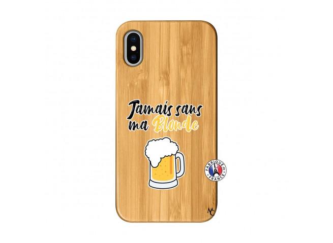Coque iPhone X/XS Jamais Sans Ma Blonde Bois Bamboo