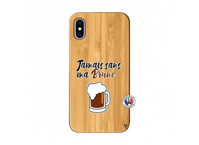 Coque iPhone X/XS Jamais Sans Ma Brune Bois Bamboo