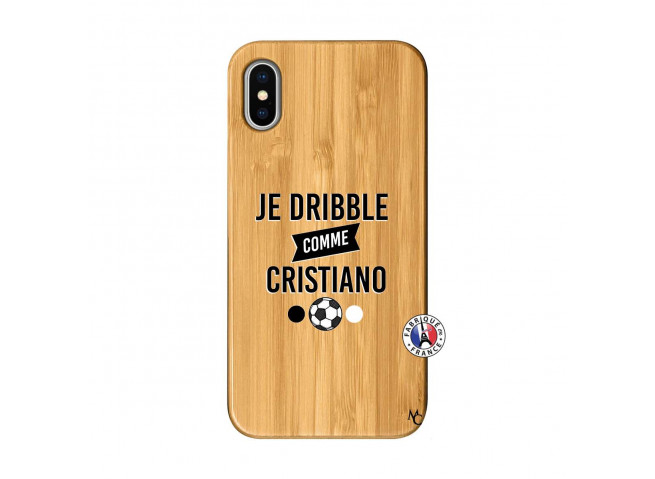 Coque iPhone XS MAX Je Dribble Comme Cristiano Bois Bamboo