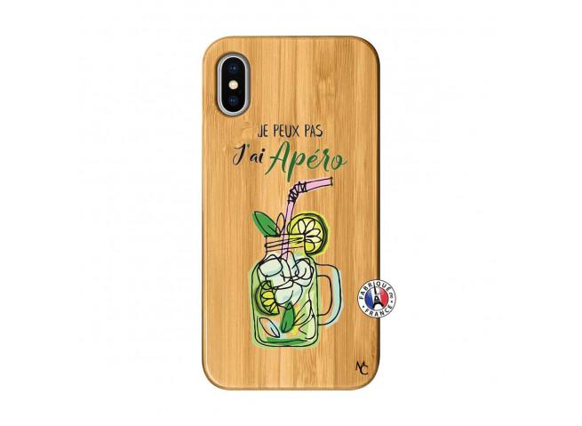 Coque iPhone X/XS Je peux pas J'ai Apéro Bois Bamboo