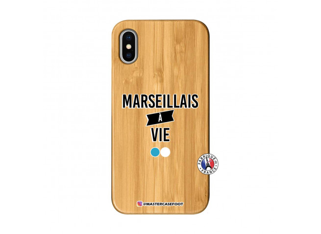 Coque iPhone X/XS Marseillais à Vie Bois Bamboo