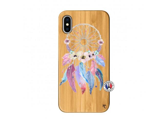 Coque iPhone X/XS Multicolor Watercolor Floral Dreamcatcher Bois Bamboo