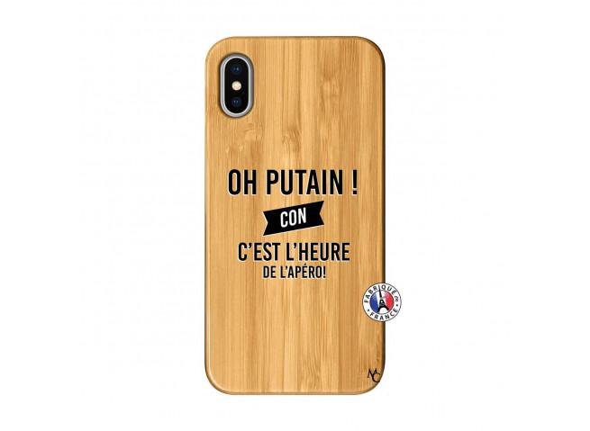 Coque iPhone X/XS Oh Putain C Est L Heure De L Apero Bois Bamboo