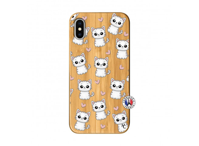 Coque iPhone X/XS Petits Chats Bois Bamboo