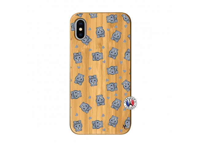 Coque iPhone X/XS Petits Hippos Bois Bamboo