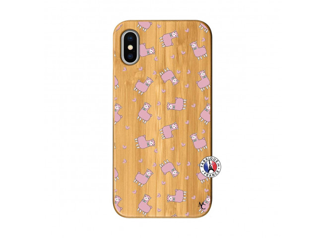 Coque iPhone X/XS Petits Moutons Bois Bamboo