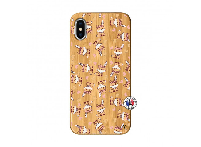 Coque iPhone X/XS Petits Renards Bois Bamboo