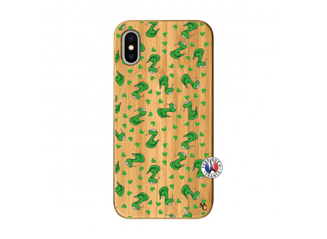 Coque iPhone X/XS Petits Serpents Bois Bamboo
