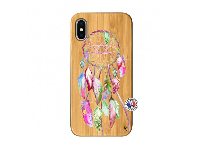 Coque iPhone X/XS Pink Painted Dreamcatcher Bois Bamboo