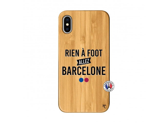 Coque iPhone X/XS Rien A Foot Allez Barcelone Bois Bamboo