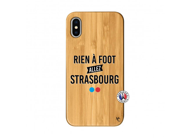 Coque iPhone X/XS Rien A Foot Allez Strasbourg Bois Bamboo