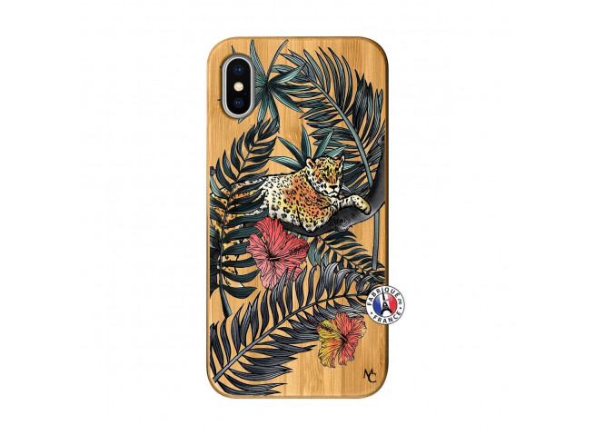 Coque iPhone X/XS Leopard Tree Bois Bamboo