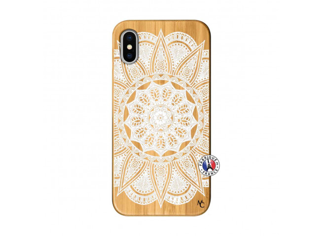 Coque iPhone X/XS White Mandala Bois Bamboo