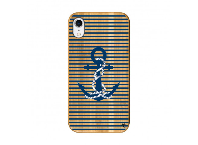 Coque iPhone XR Ancre Bois Bamboo