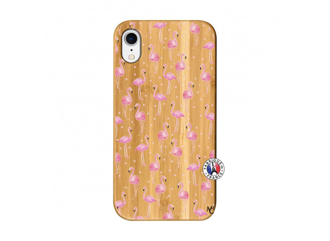 Coque Bois iPhone XR Flamingo