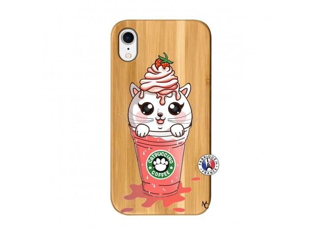Coque Bois iPhone XR Catpucino Ice Cream Smoothie