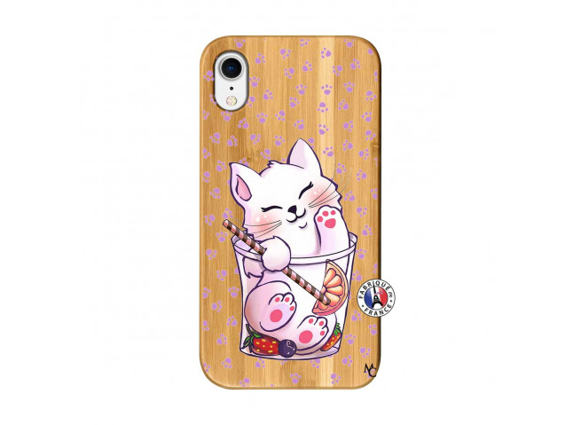 Coque Bois iPhone XR Smoothie Cat