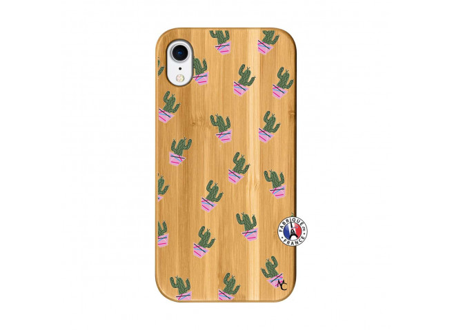 Coque iPhone XR Cactus Pattern Bois Bamboo