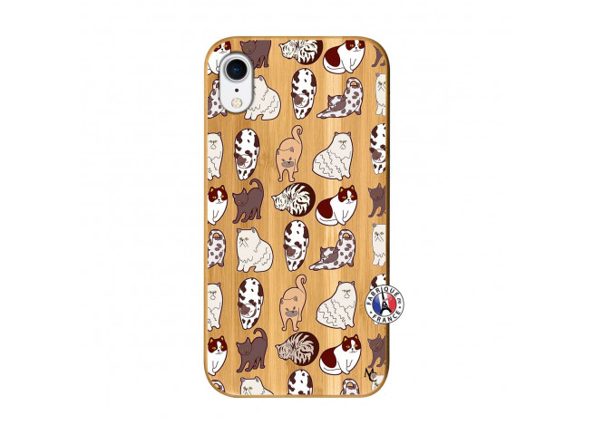 Coque iPhone XR Cat Pattern Bois Bamboo