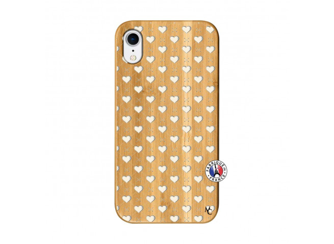 Coque iPhone XR Little Hearts Bois Bamboo