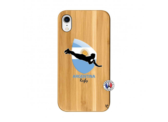Coque iPhone XR Coupe du Monde Rugby-Argentine Bois Bamboo