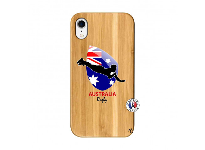 Coque iPhone XR Coupe du Monde Rugby-Australia Bois Bamboo