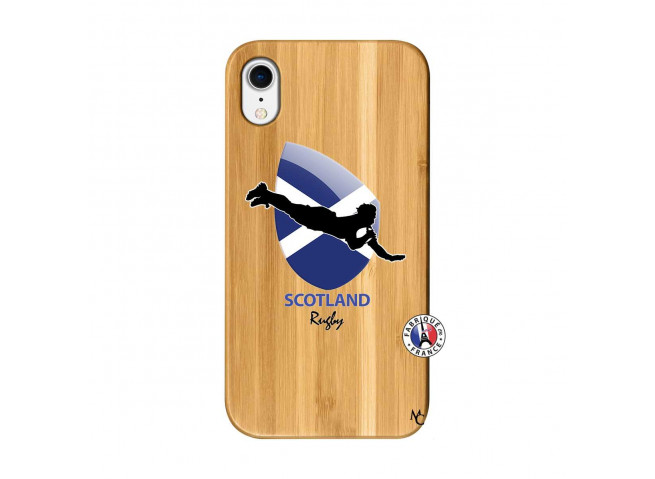 Coque iPhone XR Coupe du Monde Rugby-Scotland Bois Bamboo