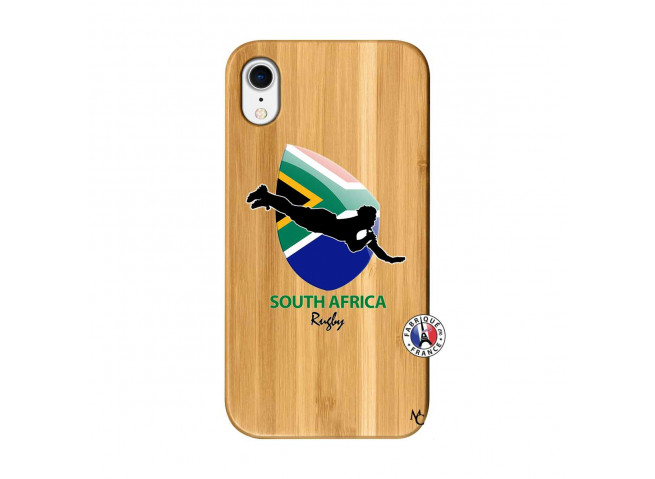 Coque iPhone XR Coupe du Monde Rugby-South Africa Bois Bamboo